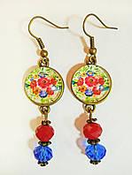 Серьги ручной работы красно-синие с цветами и подвеской