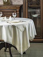 Скатерть с кружевом из ткани ELBRUS, цвет шампань