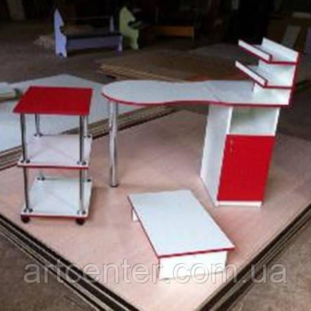 Маникюрный стол складной с полочками для лаков с бортиками для салона красоты