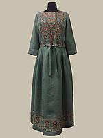 """Льняное платье вышиванка """"Руслана"""" зеленое 42-54 р."""