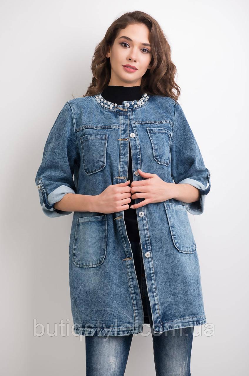 Куртка женская джинсовая с декором