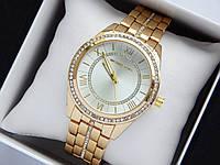 Женские кварцевые наручные часы копия Michael Kors золотого цвета, римские цифры, серебристый циферблат, фото 1