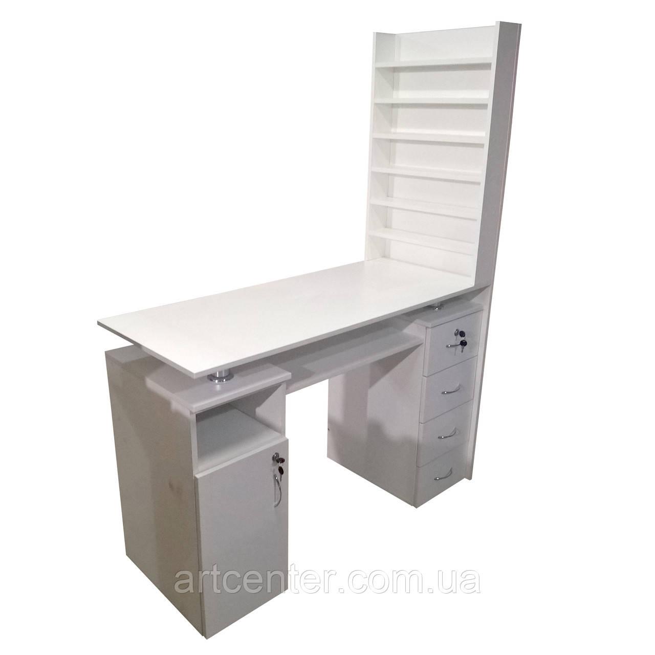 Маникюрный стол двухтумбовый с большой витриной для лаков в салон красоты