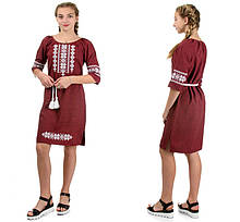 "Жіноче плаття-вишиванка ""Оксана"" льон-габардин ( марсала)"