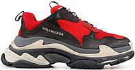 Мужские кроссовки Balenciaga Triple S Red / Black Баленсиага Трипл С красные с черным Многослойная подошва