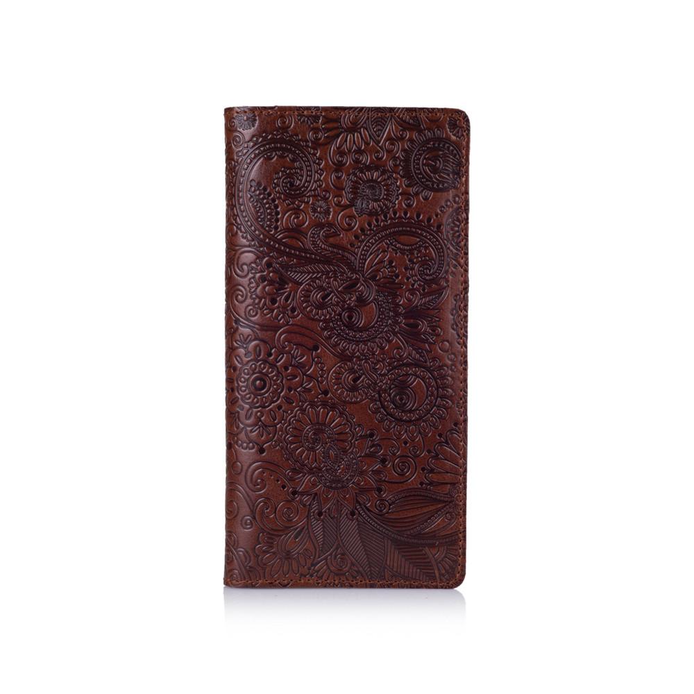 """Удобный бумажник с глянцевой натуральной кожи коньячного цвета с отделением для монет, коллекция """"Mehendi Art"""""""