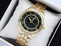 Женские кварцевые наручные часы Michael Kors золотого цвета, стразы, римские цифры, черный циферблат, фото 1