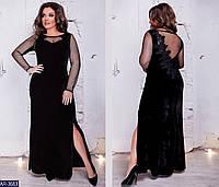 Женское платье в пол бархат+сетка+кружево раз.50-58