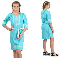 """Жіноче плаття-вишиванка """"Оксана"""" льон-габардин ( колір м'ята)"""