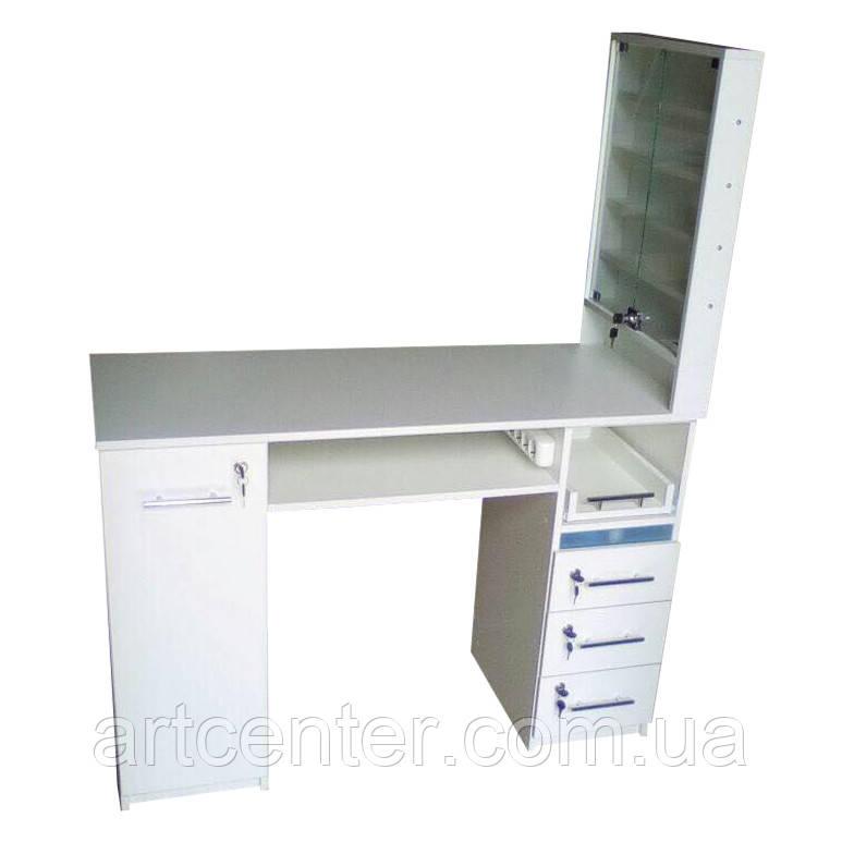 Маникюрный стол двухтумбовый с большой витриной для лаков, выдвижными ящиками для студии красоты
