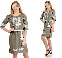 """Жіноче плаття-вишиванка """"Оксана"""" льон-габардин ( колір оливка)"""