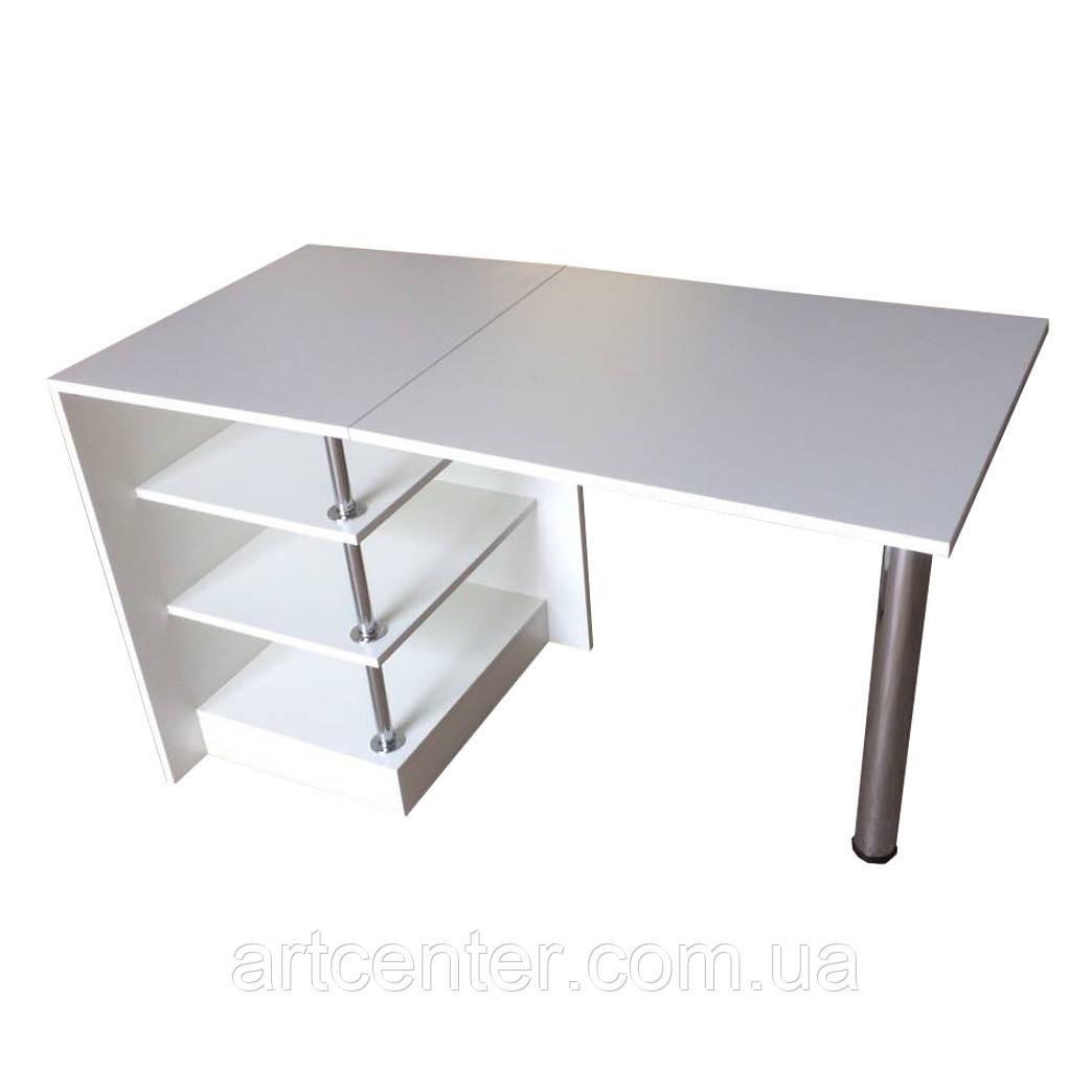 Стол маникюрный белый с угловыми полочками, стол офисный