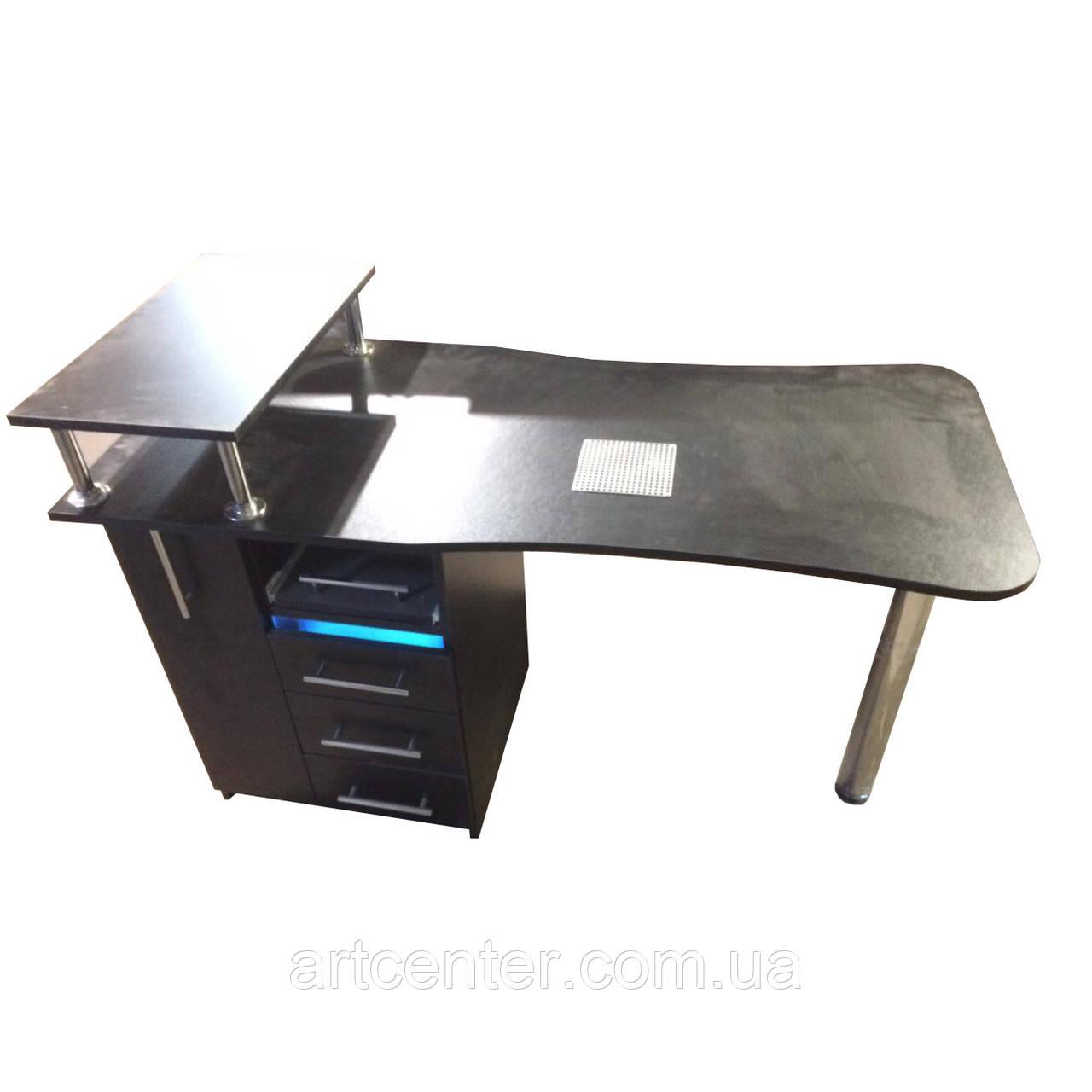 """Стіл для манікюру професійний з вбудованою УФ лампою в ящику, ящиком """"карго"""" і поличкою"""