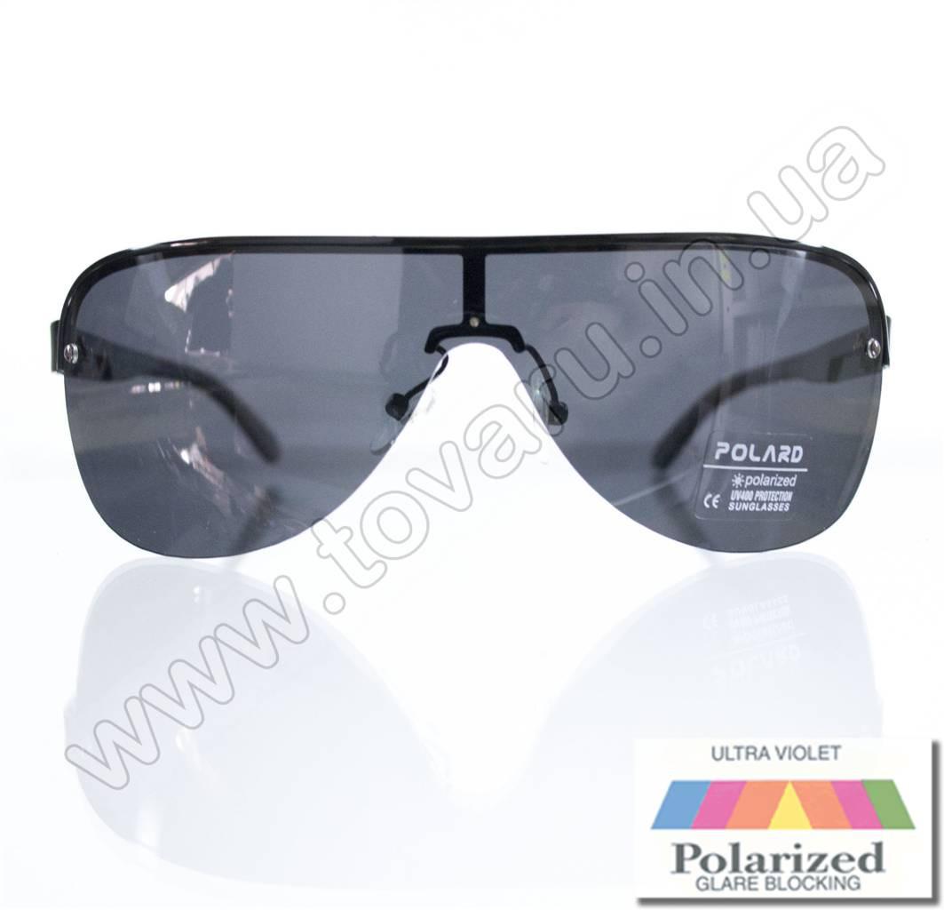 Мужские очки с поляризацией солнцезащитные в форме маски - Черные - P05001