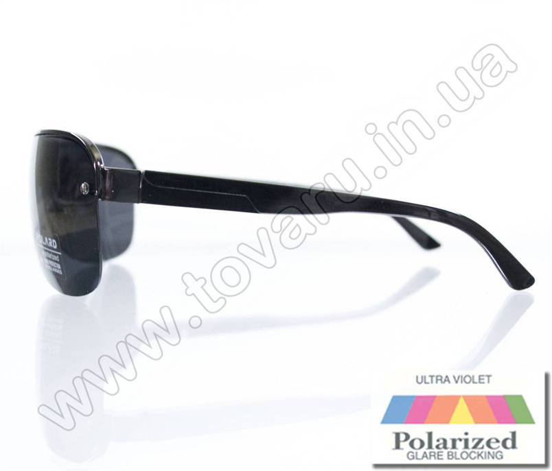 Мужские очки с поляризацией солнцезащитные в форме маски - Черные - P05001, фото 2