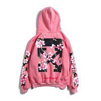 c77e0f4fdf007 Мужская худи розовая с принтом , стильная толстовка худи Off-White  (flowers) PINK