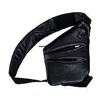 Мужская сумка Valenta кожаная через плечо 28х22х2 см Черная (ВС1425 BLF)