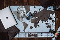 Скретч-карта мира Scratch World Map Silver размер 85Х60