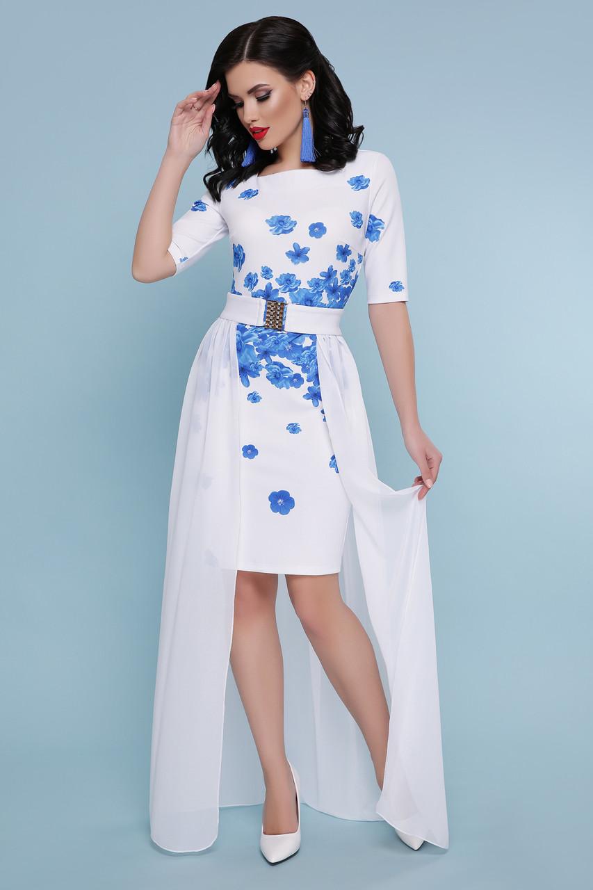 Платье белое со съемной юбкой голубые цветы свадебное торжественное для выступления 42,44,46,48