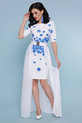 Платье белое со съемной юбкой голубые цветы свадебное торжественное для выступления 42,44,46,48, фото 2