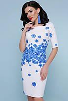 Платье белое со съемной юбкой голубые цветы свадебное торжественное для выступления 42,44,46,48, фото 3
