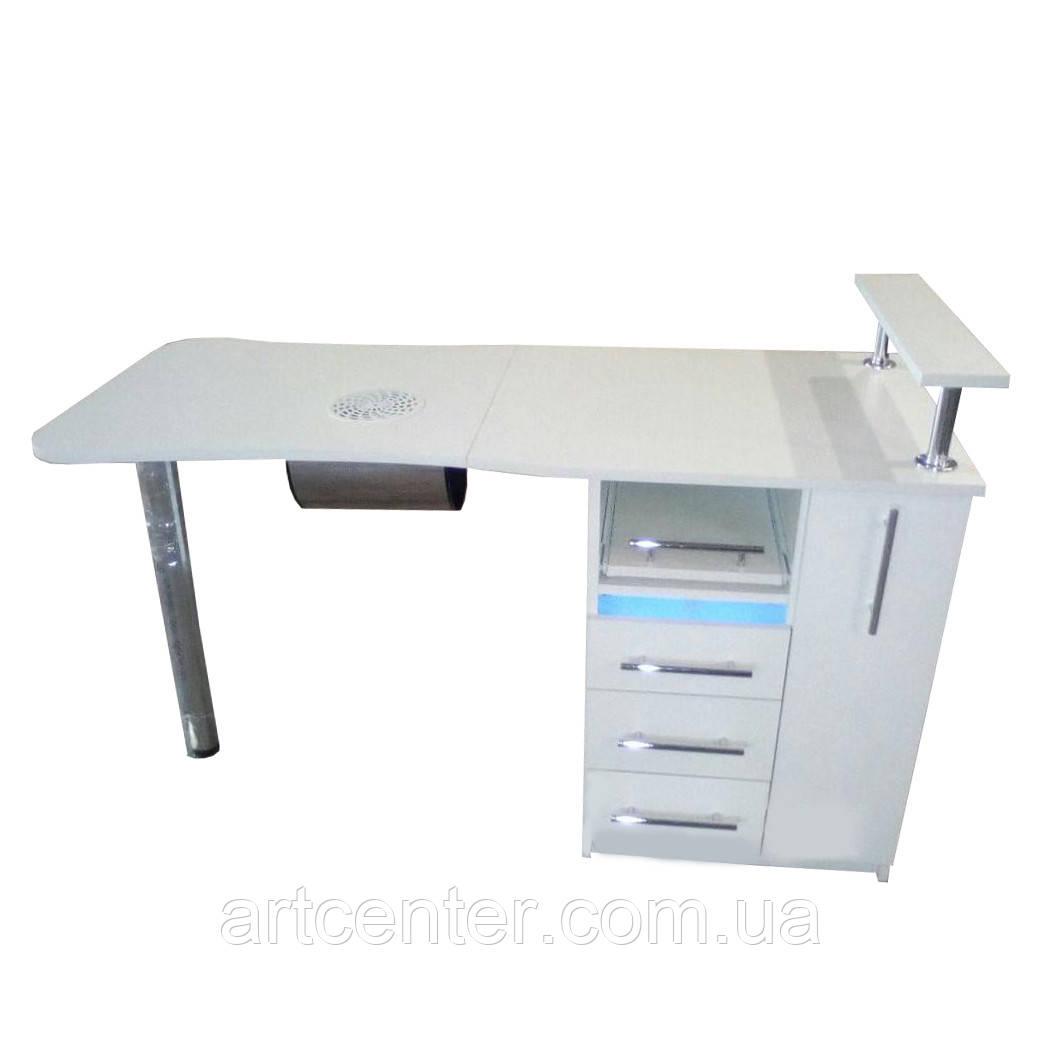 """Маникюрный стол с встроенным УФ блоком в верхнем ящике, ящиком """"карго"""" для салона красоты"""