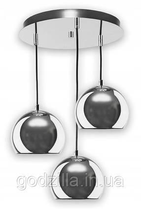Подвесная светодиодная лампа-люстра в форме металлических шаров в хроме, тип 1