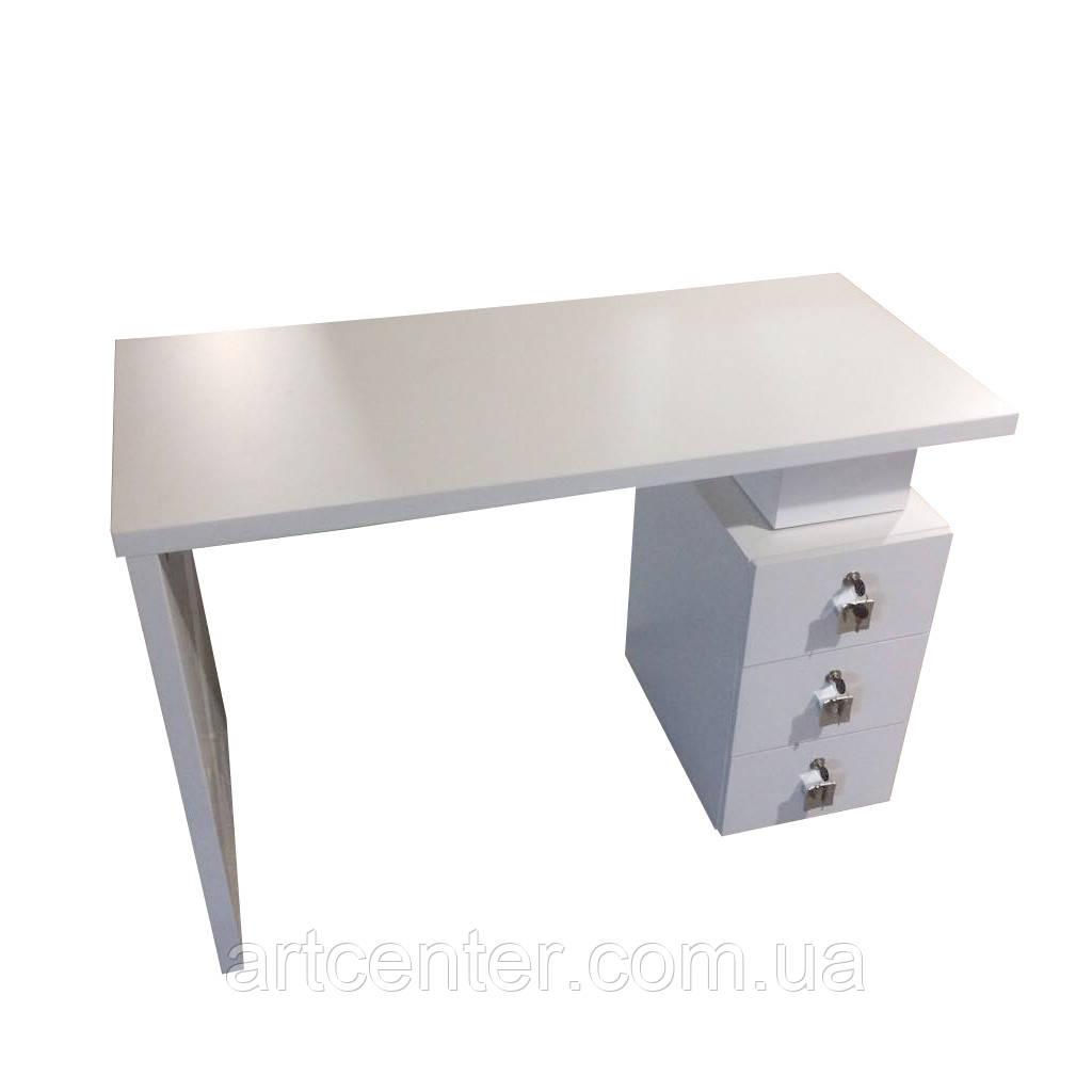 Манікюрний стіл білий з однією тумбою, офісний стіл з потовщеною стільницею