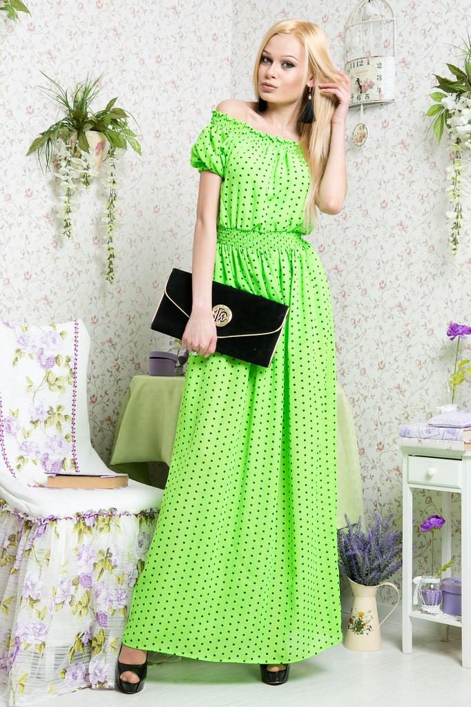 Платье в пол горох шифон