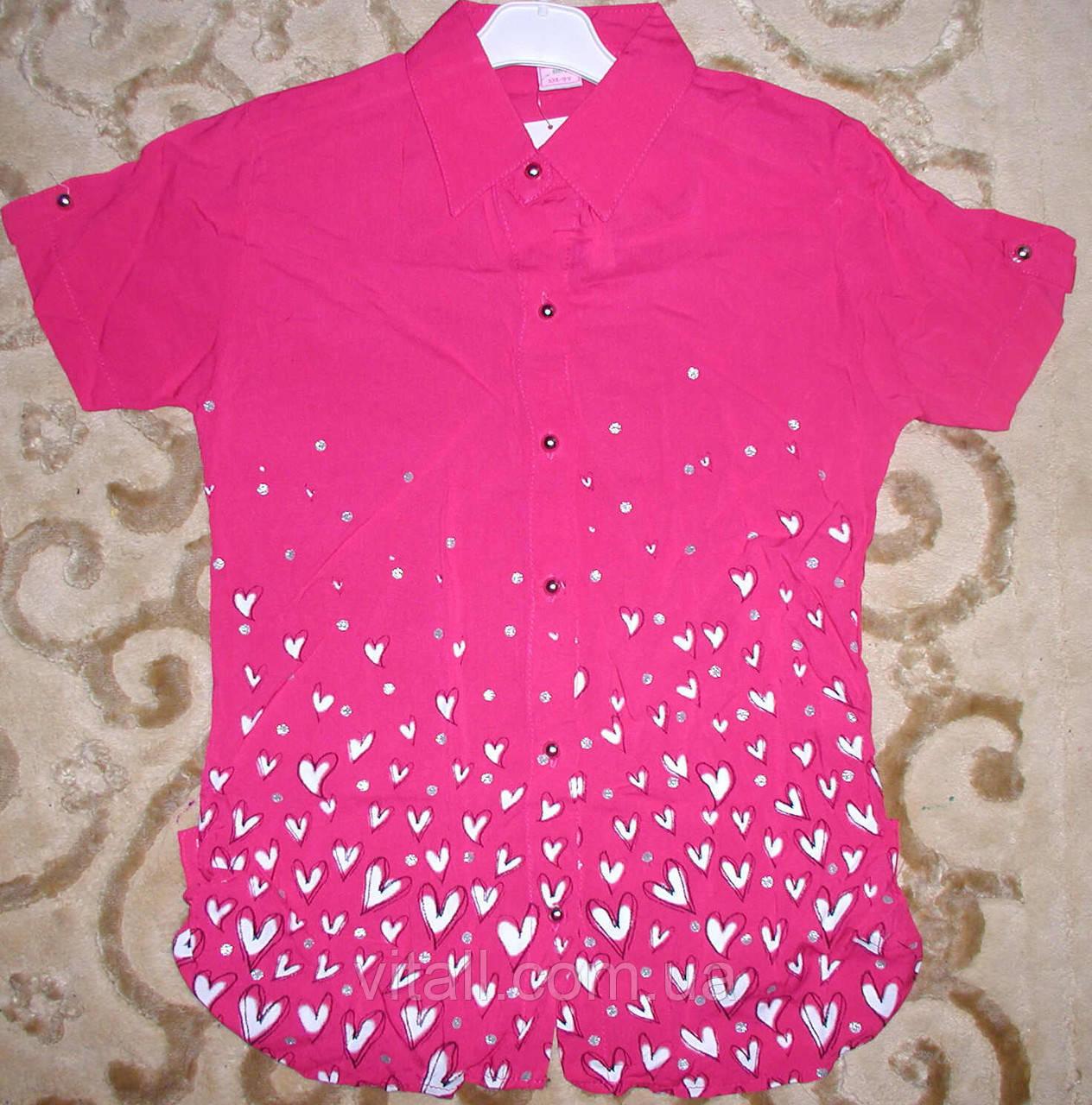 Рубашка -блуза  5-8 лет малиновая с сердечками