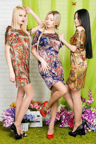 Платье-туника атлас с молниями на плечах, фото 2