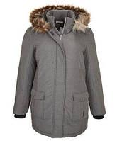 Теплый женский зимний пуховик с капюшоном, размер 56