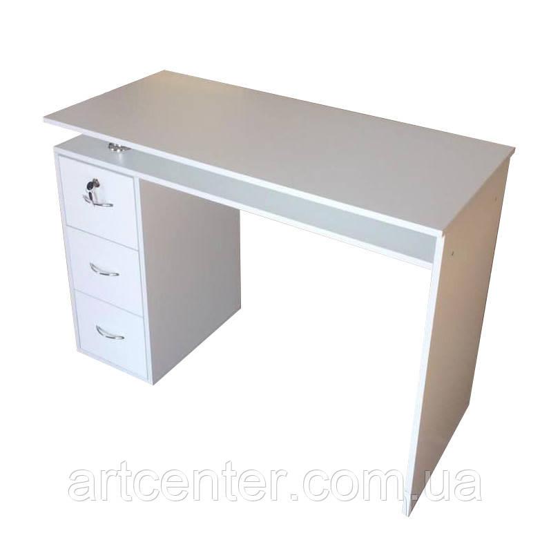 Маникюрный стол, офисный стол однотумбовый белый с ящиками