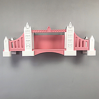 Книжная полка детская навесная Tower Bridge (London, UK), Натуральное дерево, (розовый), Коллекция History