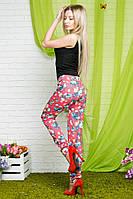 Женские стрейчевые брюки цветы коттон