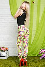 Женские стрейчевые брюки цветы коттон , фото 2