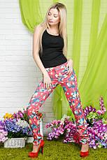 Женские стрейчевые брюки цветы коттон , фото 3