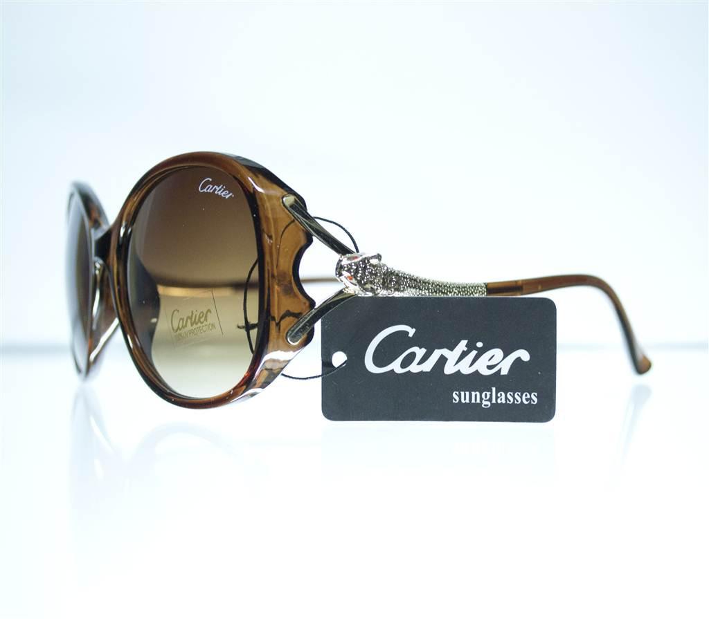 Оптом Очки женские Cartier солнцезащитные - Коричневые - 8328