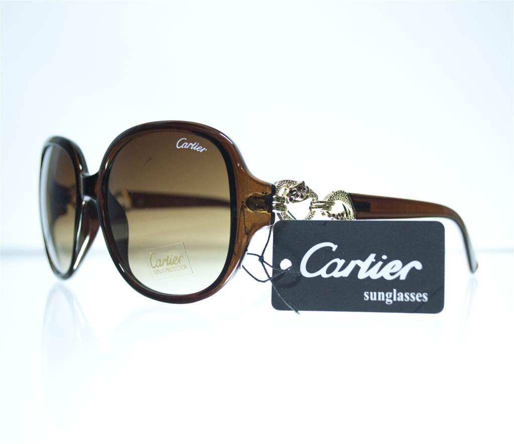 Оптом Очки женские Cartier солнцезащитные - Черные - 1312