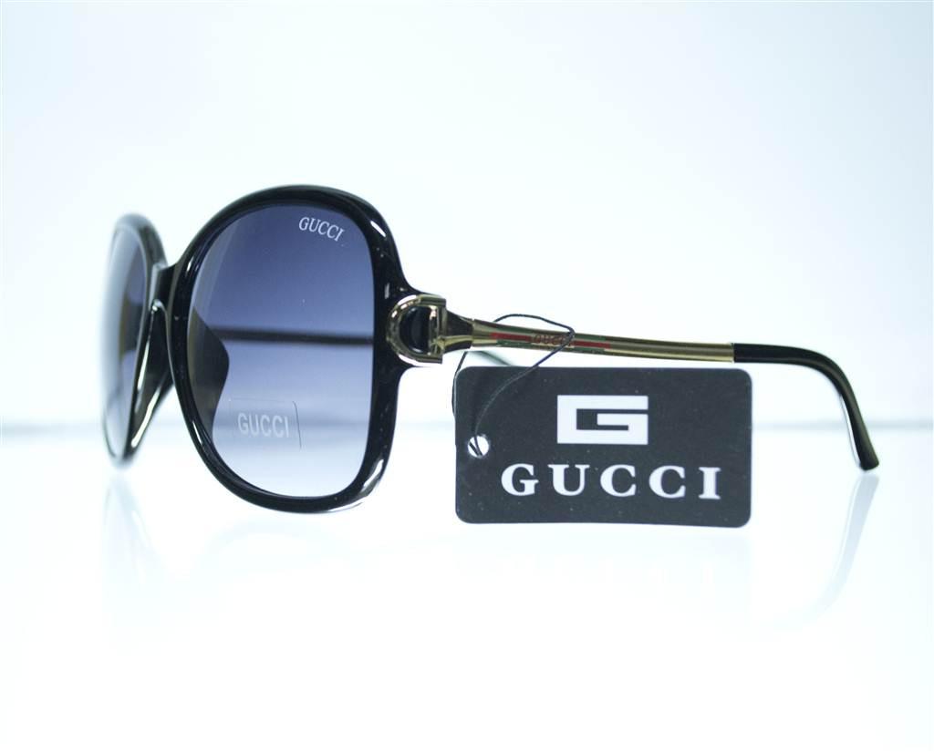 Оптом Очки женские Gucci солнцезащитные (реплика) - Черные - 8191