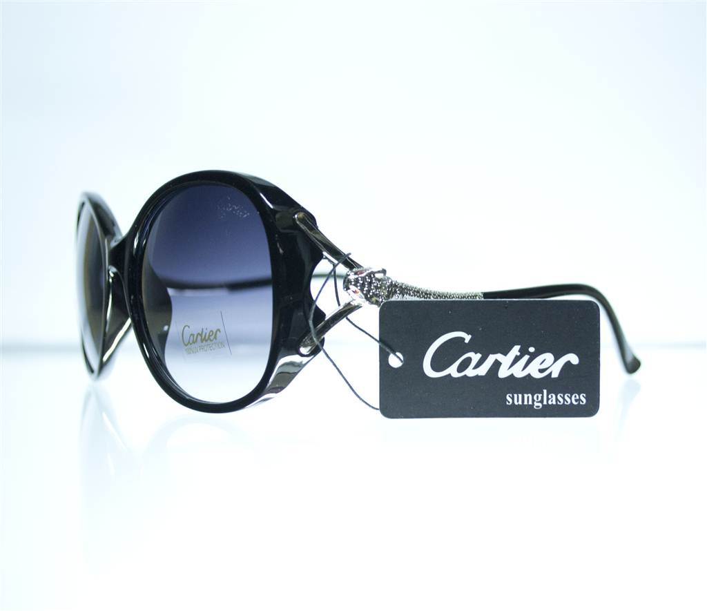 Оптом Очки женские Cartier солнцезащитные - Черные - 8328, фото 1