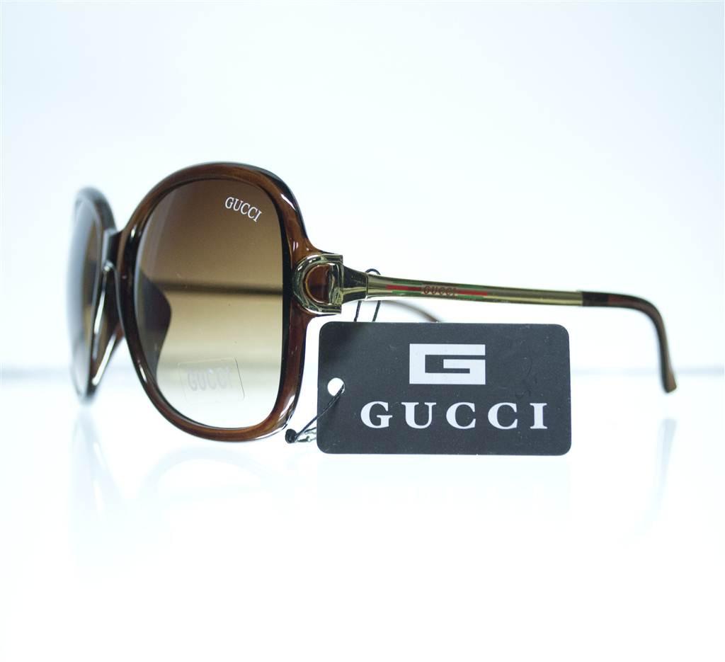 Оптом Очки женские Gucci солнцезащитные (реплика) - коричневые - 8191