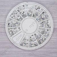 Контейнер-карусель со стразами для дизайна ногтей Серебро