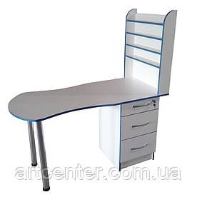 Стол маникюрный с большой полкой под лаки с бортиками, выдвижными ящиками для студии красоты