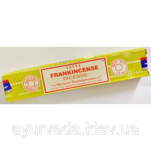 Благовонные палочки натуральные пыльцовые Ладан (франкинсенс), Frankincense, 15gm, Satya