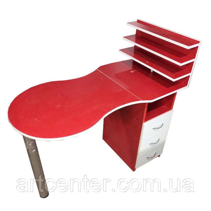 Маникюрный стол красный с выдвижными ящиками и полочкой для лаков