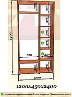 Двухдверные шкафы-купе 1200x450 h2400 (2 дв ДСП) (Эверест)