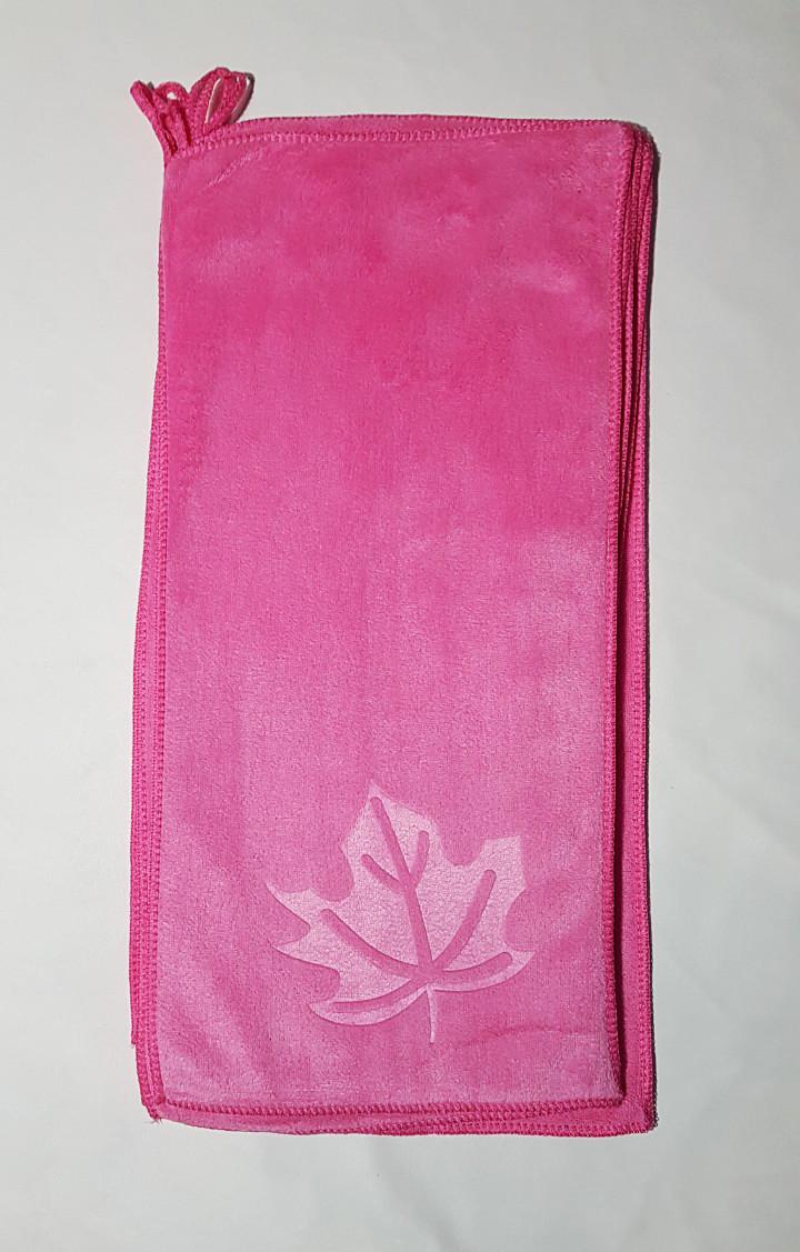"""Кухонное полотенце """"Листочек"""" микрофибра 24*48, цвет: розовый"""