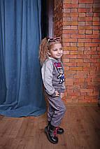 Серый детский спортивный костюм для девочки Лол с пайетками, фото 2