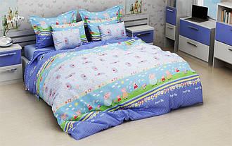 Полуторный детский комплект постельного белья из бязи 145х215  (1.0) «Свинка Пеппа на природе» Голубой